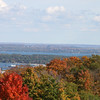 Both bays are visible through colorful foliage in October. Photo by Joy Wickstrand Murdock.