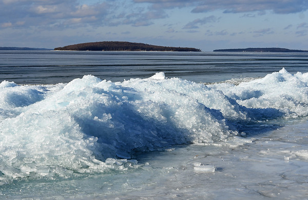 An unusual ice formation on West Grand Traverse Bay. Photo by Steve Morgan.