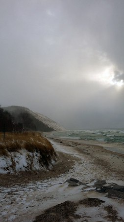 A cold and blustery afternoon at Lake Michigan Beach Park in Empire. Photo by Dave Clinton.