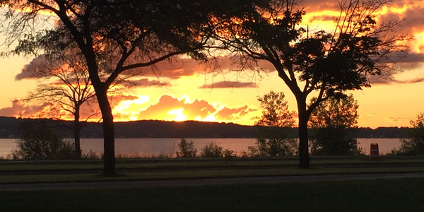 A Sunday sunrise over Old Mission Peninsula from Darrow Park. Photo by Dan Edson.