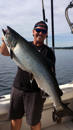 Captain Brady Anderson, owner and Captain of Storm Hawk Sport Fishing, caught a 41.5-inch, 32.9-pound chinook (king) salmon in West Grand Traverse Bay on July 22. The trophy fish is on its way to be mounted by a local taxidermist, Anderson said.