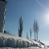 Point Betsie Lighthouse on a rare sunny day. Photo by Luise Bolleber.