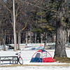 Camping out at the Civic Center in March. Photo by Meg McCardel.