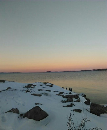A snowy view of Grand Traverse Bay. Photo by Donna Weathers.