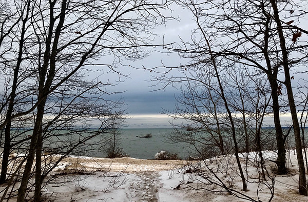 The current keeper at Mission Point  Lighthouse wanted to share the view from the tip of the Old Mission Peninsula. Photo by Ceil Heller.