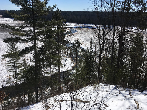 A view overlooking the Brown Bridge Quiet Area and the Boardman River in mid March. This is from the viewing deck. Photo by Barb Shimnoski.