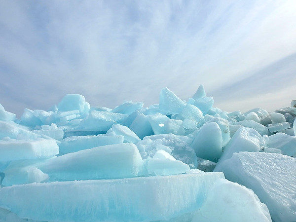 The three-story high blue ice slabs in Mackinac City. Photo by Janeen Wardie.
