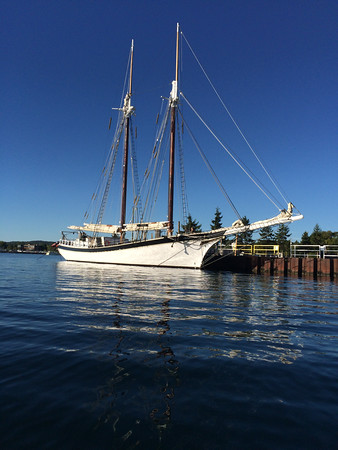The Manitou at rest on a beautiful morning on West Grand Traverse Bay.<br /> Photo by Jon R. Constant.