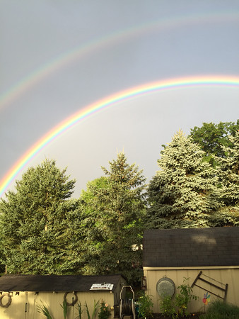 A double rainbow in September in Mesick. Photo by Dick Tyburski.