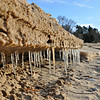 Icicles on a Leland beach. Photo by Heather Spaleny.