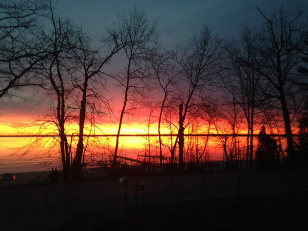 Sunrise over East Bay from Old Mission Peninsula. Photo by Bob Bevier.