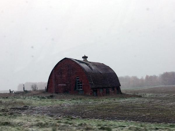 An early snowfall along M-72 between Kalkaska and Traverse City. Photo by Cheryl Gerschbacher.