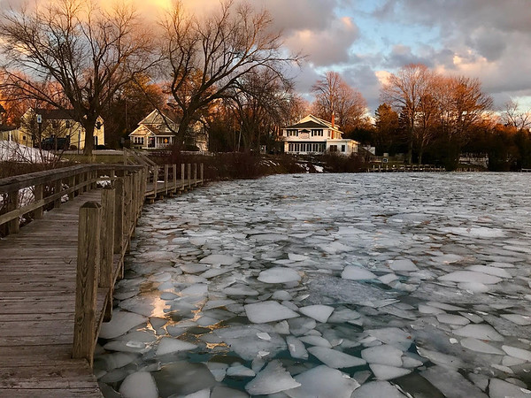 Ice breakup in Leland by the Riverside Inn. Photo by James Saffell.