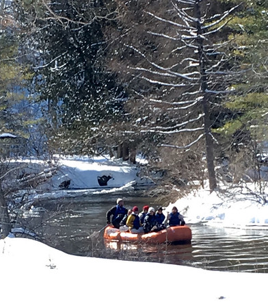 Winter rafting on the Sturgeon River. Photo by Sara Blessing.