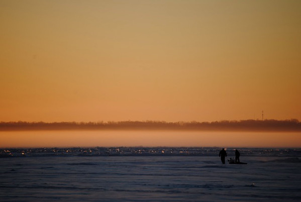 Sunday ice fishing on Grand Traverse Bay West Arm.  Photo by Debbie Marsh.