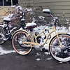 Bicycles get a wintry rest outside Phoenix Theatre at Interlochen Center for the Arts.  Photo by Sharon Bacon.