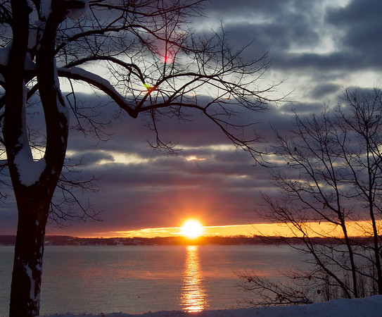 Sunrise from the stretch of M-22 between downtown Traverse City and Cherry Bend Road.  Photo by Cathy McKinley.