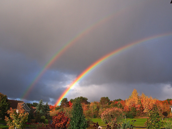 A rainy morning and a ray of sunshine made a double rainbow over Chateau Bayside near Suttons Bay. Photo by Cathy McKinley.