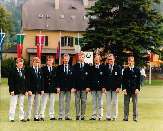 Fv. Sigurður Sigurðsson GS, Gylfi Kristinsson GS, Sveinn Sigurbergsson GK, Sigurður Pétursson GR, Sigurjón Arnarsson GR, Björgvin Þorsteinsson GA, Frímann Gunnlaugsson liðsstjóri, Úlfar Jónsson GK.