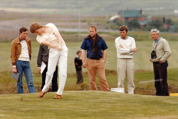 Sigurður Pétursson, slær á teig á Evrópumóti unglinga sem haldið var á Grafarholtsvelli árið 1981.