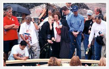 Ground Zero.  John's Mother and sister Tara