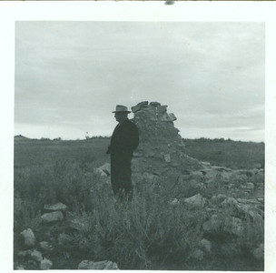 Jacob Schaak, standing at the last of the home, where Sarah was born, near Watkins, MT