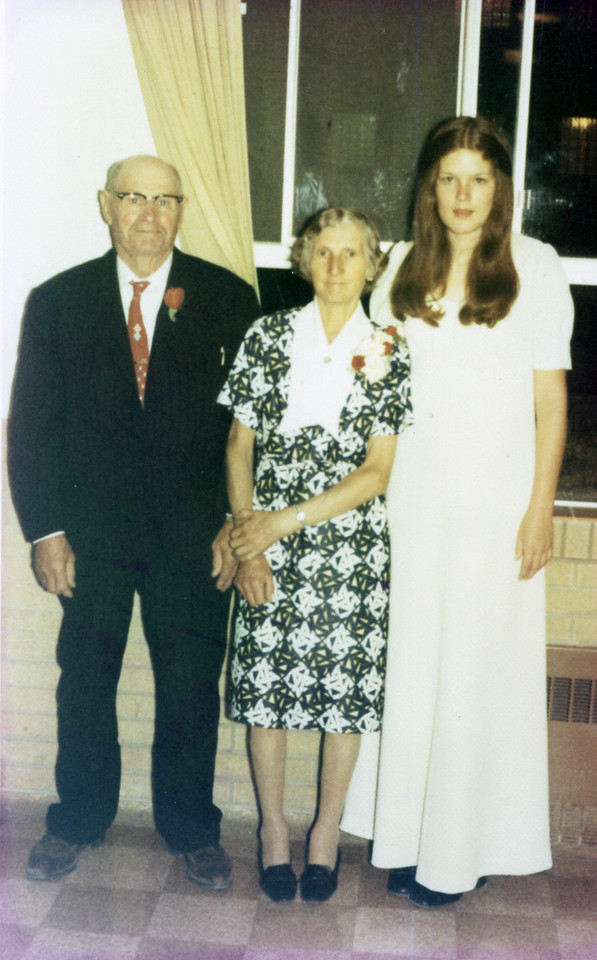 Grandpa Jacob Schaak, Marie and Granddaughter Renee Schaak<br /> at her graduation 1972 from GSA