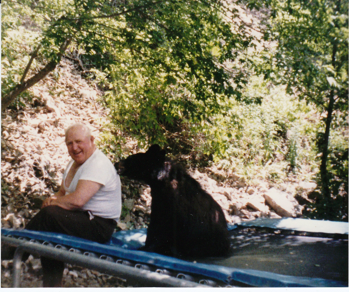 Uncle John Harper with Monte the Bear