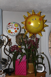 The orchid and ballons for Aunt Jean from the Henwood Family.