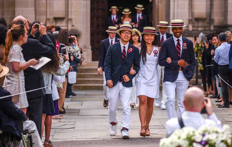 . The Sixth Form, or class, for The Groton School 2018, follows a procession to the graduation ceremony on campus Sunday afternoon.  SUN/Scot Langdon