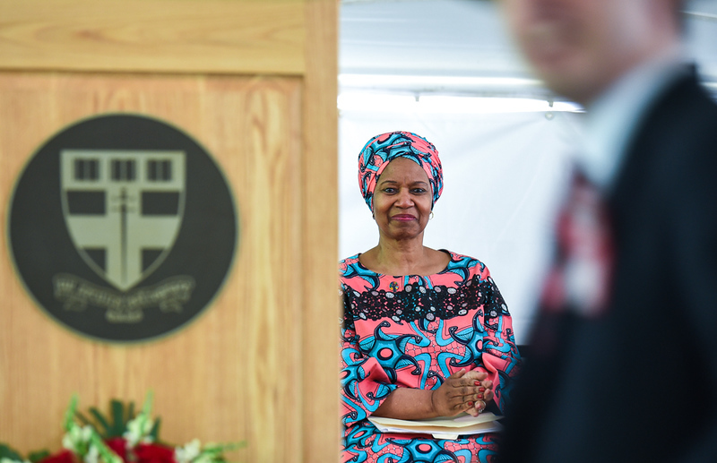 . Keynote Speaker, Dr. Phumzile Mlambo-Ngcuka, the United Nations Under-Secretary-General, Executive Director of UN Women, listens and watches with pride as Groton School students receive diplomas Sunday during the 133rd Prize Day.  SUN/Scot Langdon