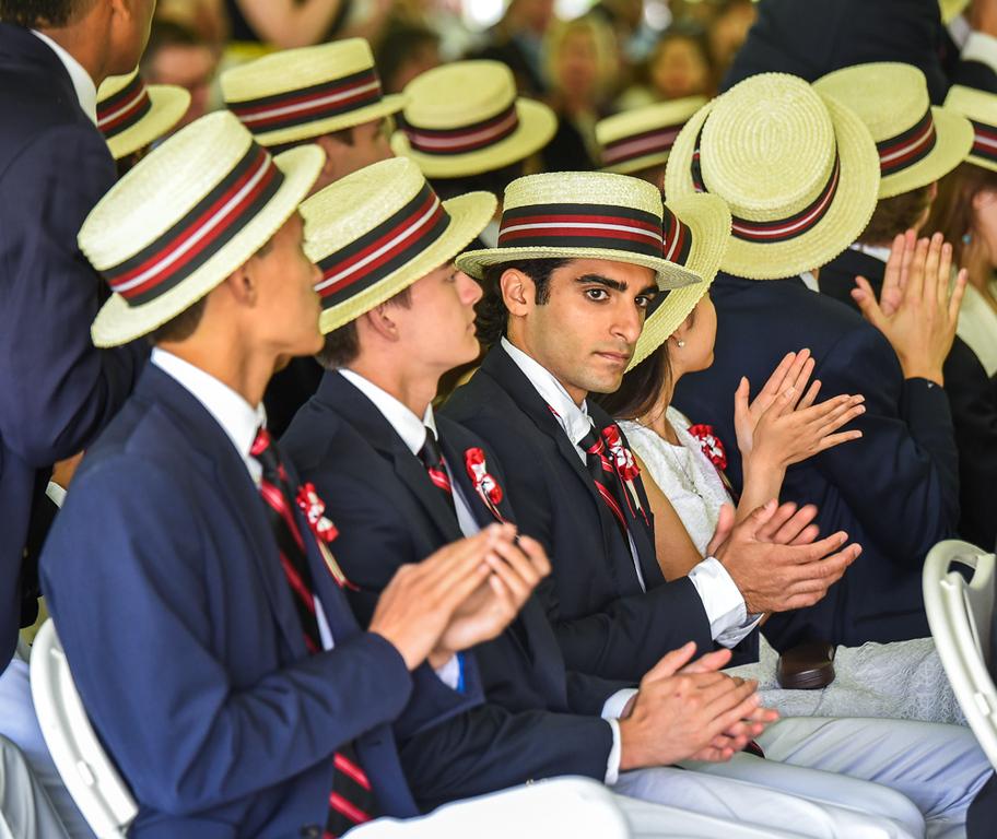 . Samir Kumar Malhotra, center, is part of the Sixth Form, or class, for The Groton School 2018.   SUN/Scot Langdon