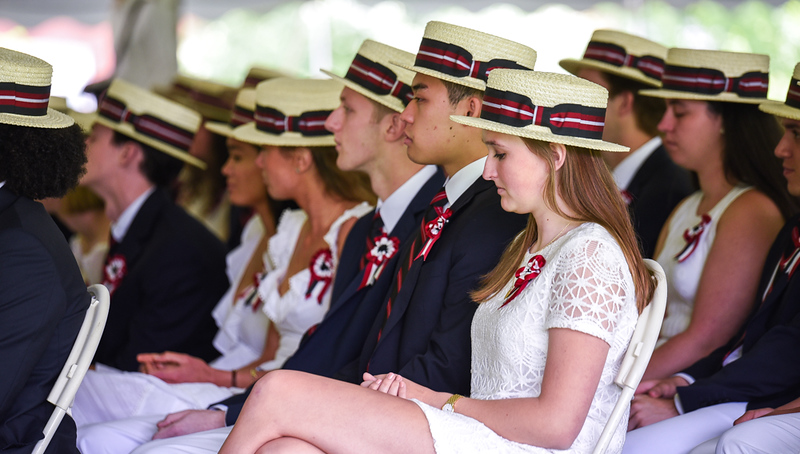 . The Sixth Form, or class, for The Groton School 2018, listens to Mr. Temba T. Maqubela, Headmaster, prior the presentation of diplomas at the graduation ceremony on Sunday afternoon.  SUN/Scot Langdon