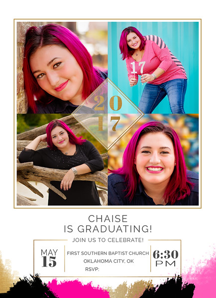 Chaise Graduation Announcement FRONT Adv