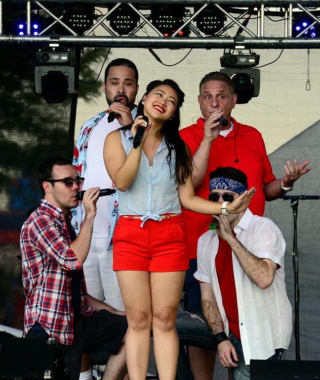 . Jenna Reyes and the rest of the 17th Avenue Allstars belt out a number at the Great American Picnic at the Broomfield County Commons on Wednesday July 4. For more photos go to broomfieldenterprise.com.  Paul Aiken / Staff Photographer July 4, 2018