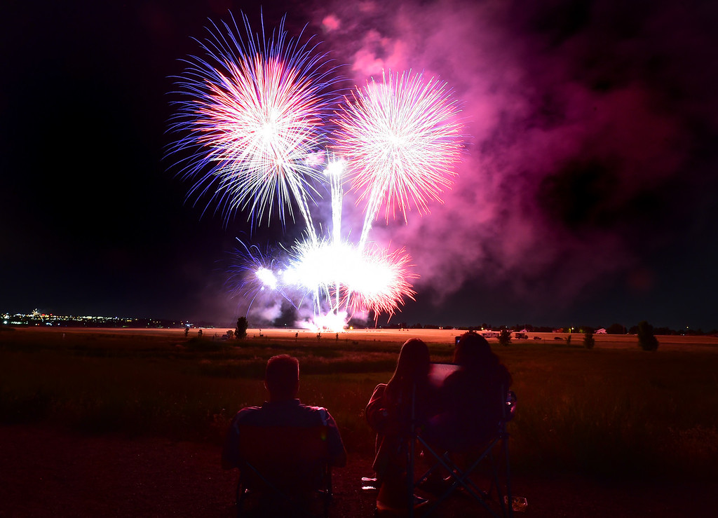 . Spectators watch the fireworks at the Great American Picnic at the Broomfield County Commons on Wednesday July 4. For more photos go to broomfieldenterprise.com.  Paul Aiken / Staff Photographer July 4, 2018