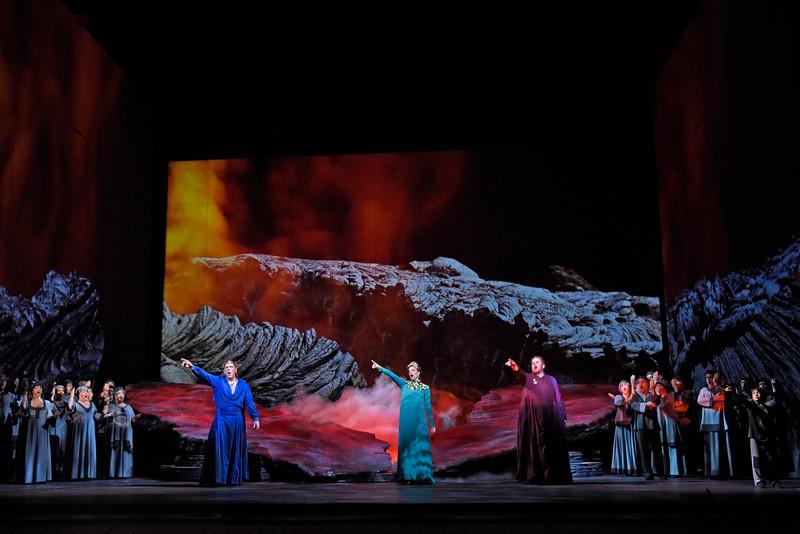 """A scene from """"Rosa Dolorosa, Figlia di Pompei"""" the opera within the opera GREAT SCOTT. (L-R) Baritone Michael Mayes, soprano Joyce El-Khoury, and tenor Garrett Sorenson. Photo by Karen Almond, 2016."""