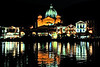 Mytilene harbor at night