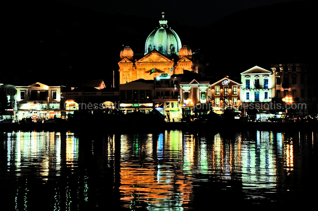 Mytilene harbor at night