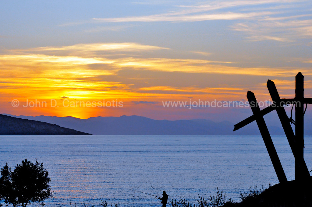 Salamina sunset with fisherman