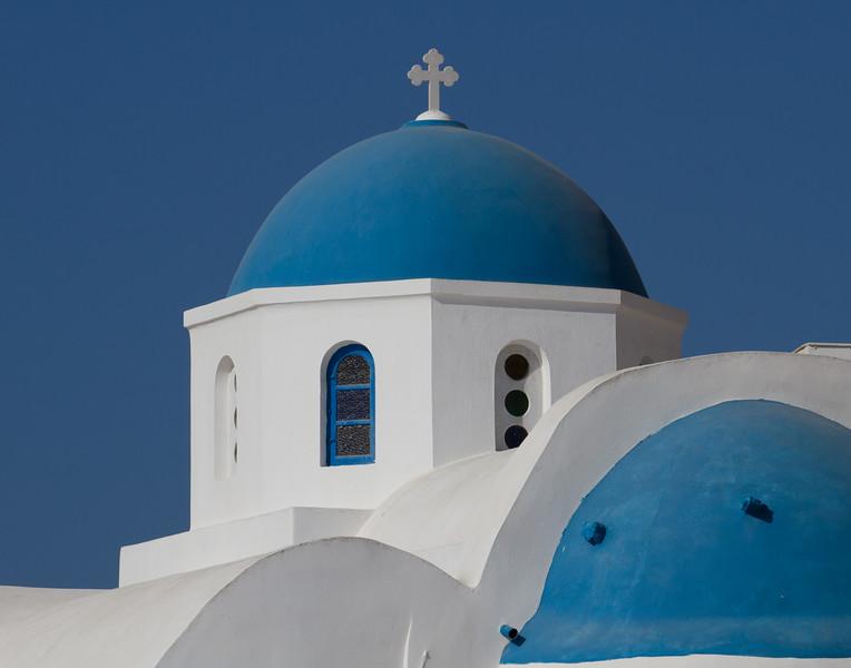 BLUE AND WHITE CHURCH. Santorini, Greece.