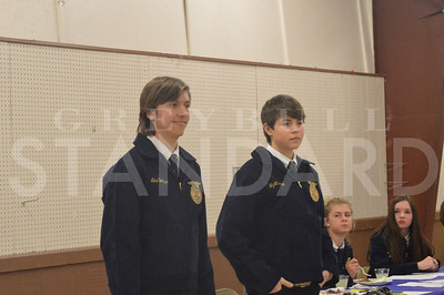 BARBARA ANNE GREENE Luke Serfass and Wyatt Bolken stand and wait to be bid on during the Paintrock FFA labor auction. The live and silent auction raised $7200.