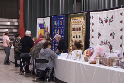 The quilt show is open and sales of raffle tickets and for baskets was brisk.