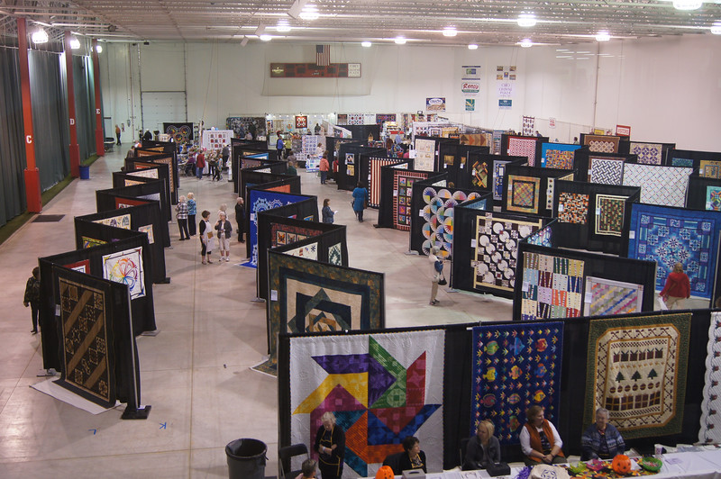 A balcony view of our show.  Thank you Quilt Show Team, it looks great.