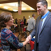 Nancy Mallory a Hayward Hospital employee thanks SSgt. Ryan Pitts after his talk at the GVNA HealthCare 7th Annual Executive Leadership Breakfast. Mallory's husband was in the military and her one of her son's is in the Army National Guard. SENTINEL & ENTERPRISE/JOHN LOVE