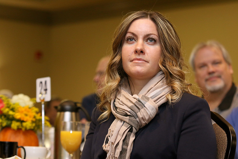 "Julie Spain with ""The SocialJulie"", a company that provides social media for businesses, listens to Dan Schawbel the guest speaker at the Gardner Visiting Nurses Associations 8th Annual Executive Leadership Breakfast at Great Wolf Lodge New England on Thursday, October 19, 2017. SENTINEL & ENTERPRISE/JOHN LOVE"