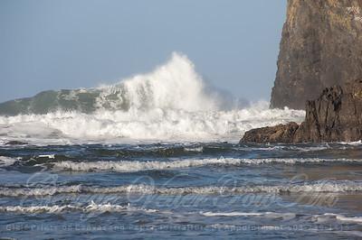 Wave crash at Haystack Rock. Cannon Beach.