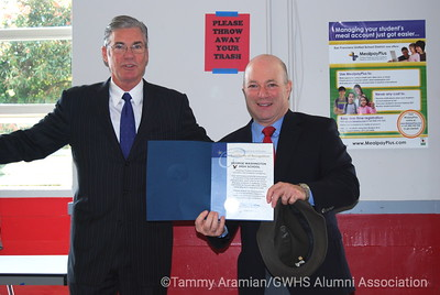 Sup. Torlakson's Certificate of Recognition held by Alumni President John Rothmann
