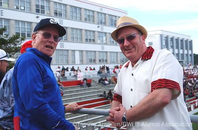 Joe Callan AL '63 and former GW football coach, and David Dubiner GW '83 and former GW fencing coach