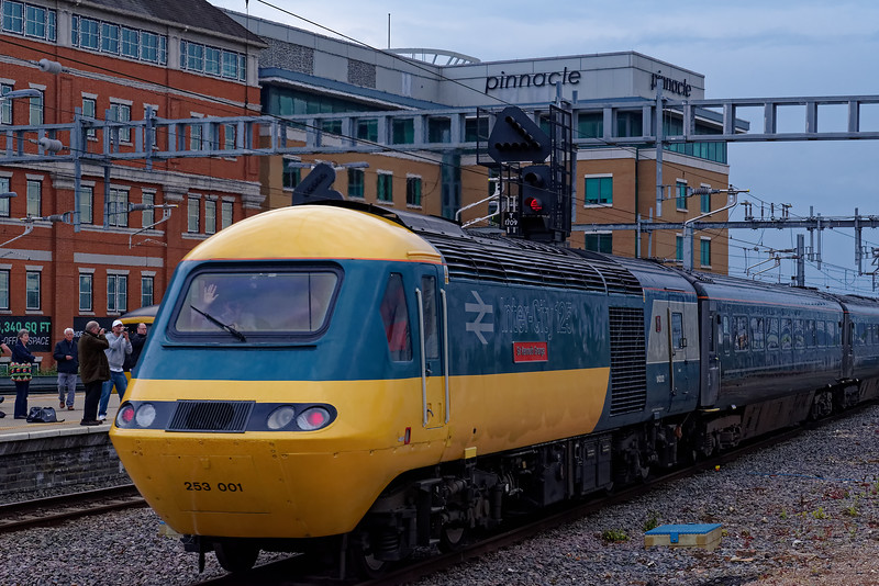 43002 departing from Reading for the last time, with 1C26, the 18:30 Paddington - Taunton.  18th May 2019, the final day of GWR mainline HST services.